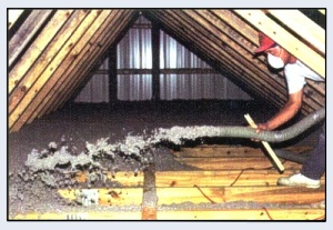 Blowing Cellulose Insulation In The Homeowners Attic ~ Click for larger image