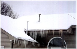Major Ice Dams Formed Along Roofline ~ Click for a larger image